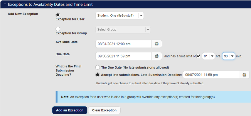 Screenshot shows Date and Time Limit Exceptions section of Settings page. Graphic link opens modal with larger image. Press Escape to exit modal.