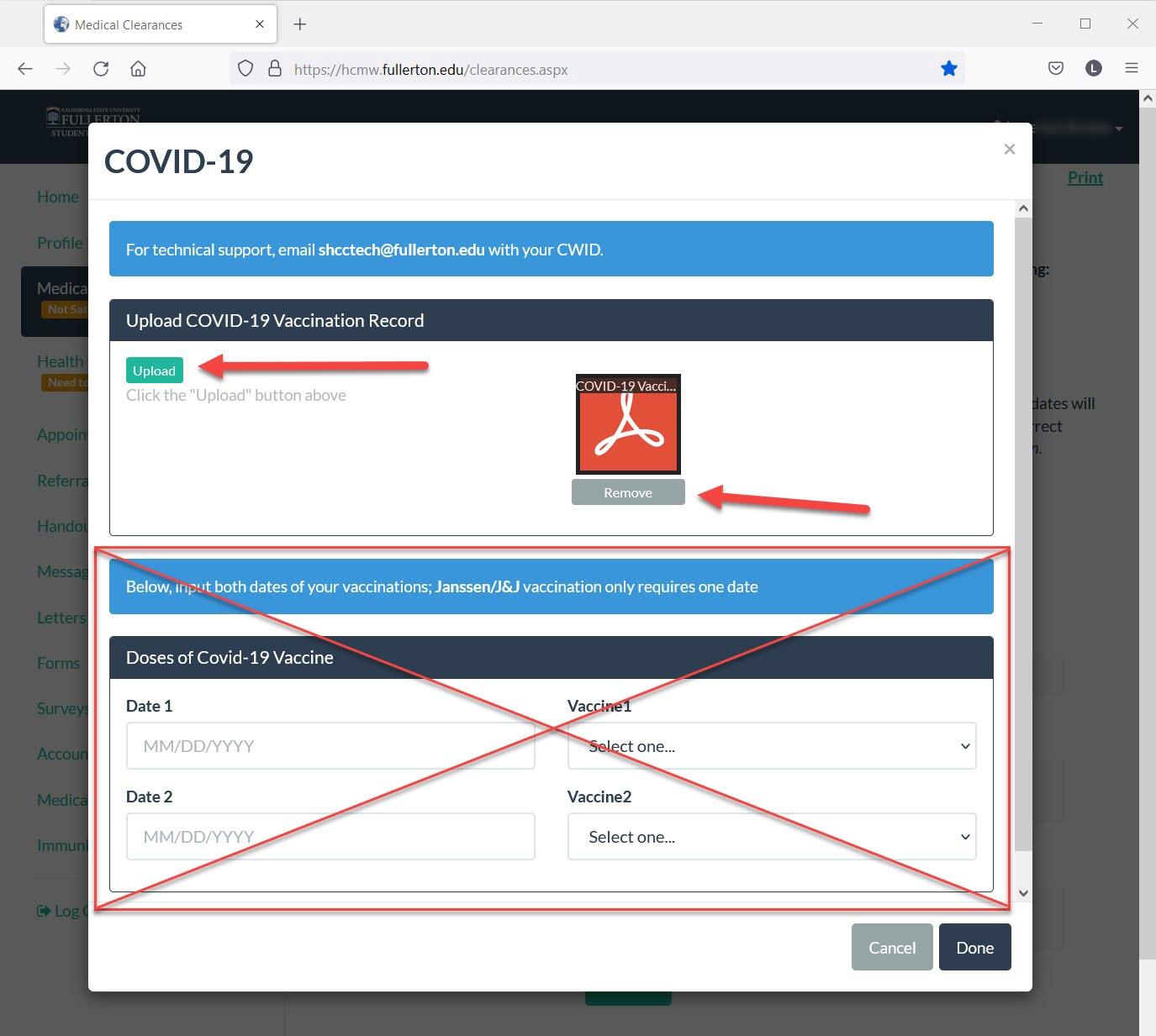 CSUF Health Portal - COVID-19 Upload Page
