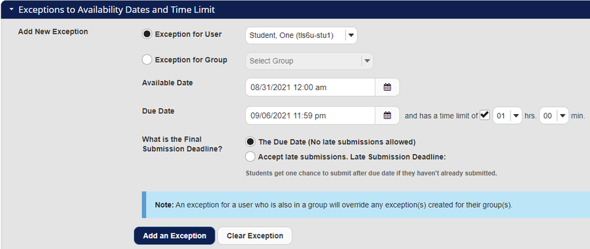 Screenshot of Exceptions section with Student One selected and dates and time limit shown. Graphic link opens modal with larger image. Press Escape to exit modal.