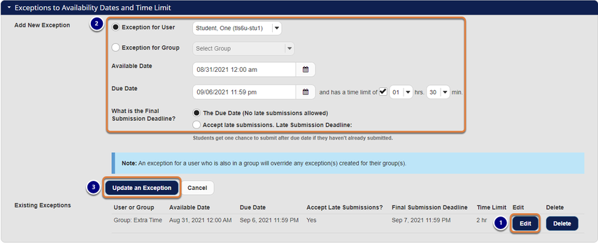 Screenshot showing editing an exception. Graphic link opens modal with larger image. Press Escape to exit modal.