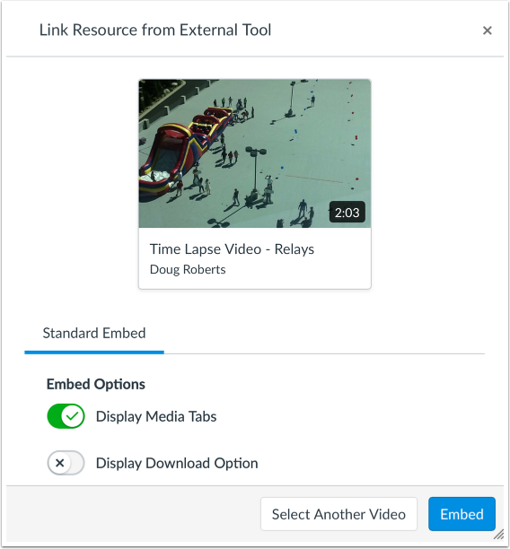 Select Embed Options