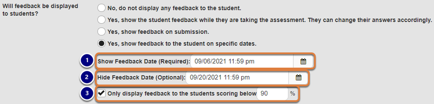Screenshot of feedback date options, described below. Graphic link opens modal with larger image. Press Escape to exit modal.