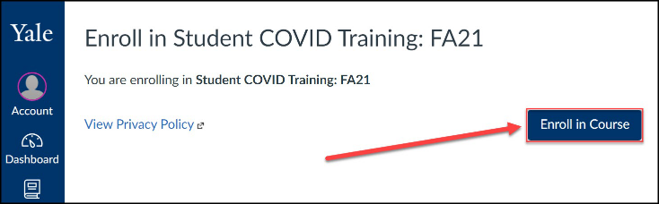 Click the Enroll in Course button to be added to the Student COVID Training course.