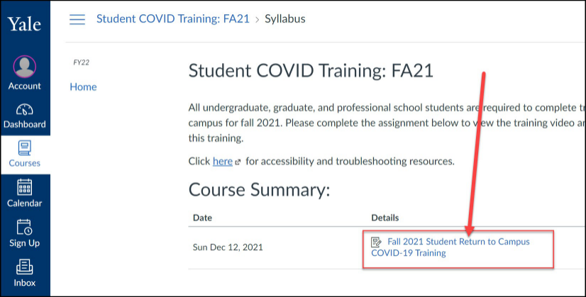 Click on the Assignment Title to open and complete the require training.
