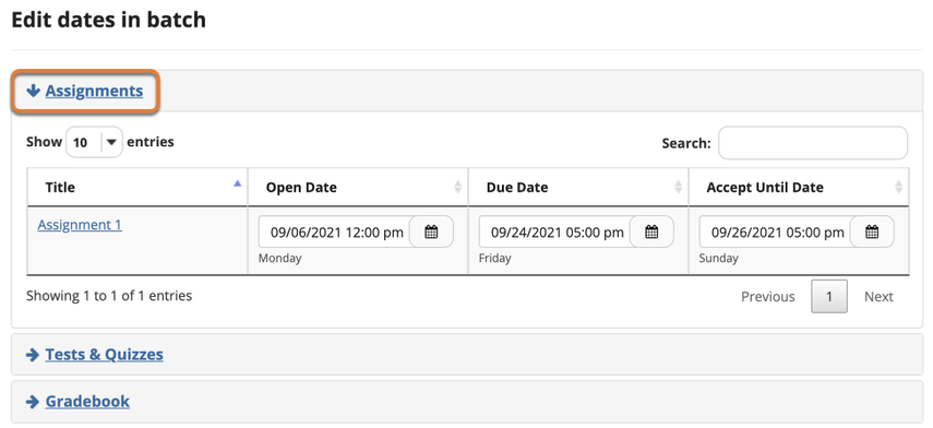 Screenshot shows the Date Manager page after expanding the Assignments section. Graphic link opens modal with larger image. Press Escape to exit modal.