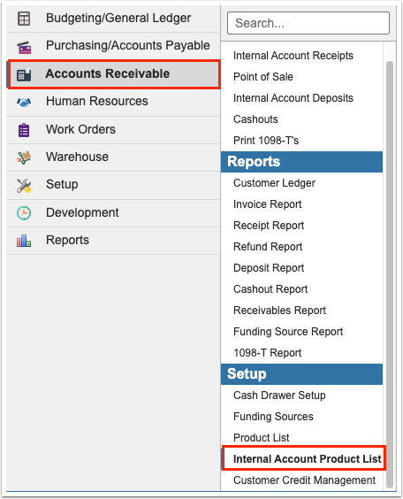 Internal Account Product List