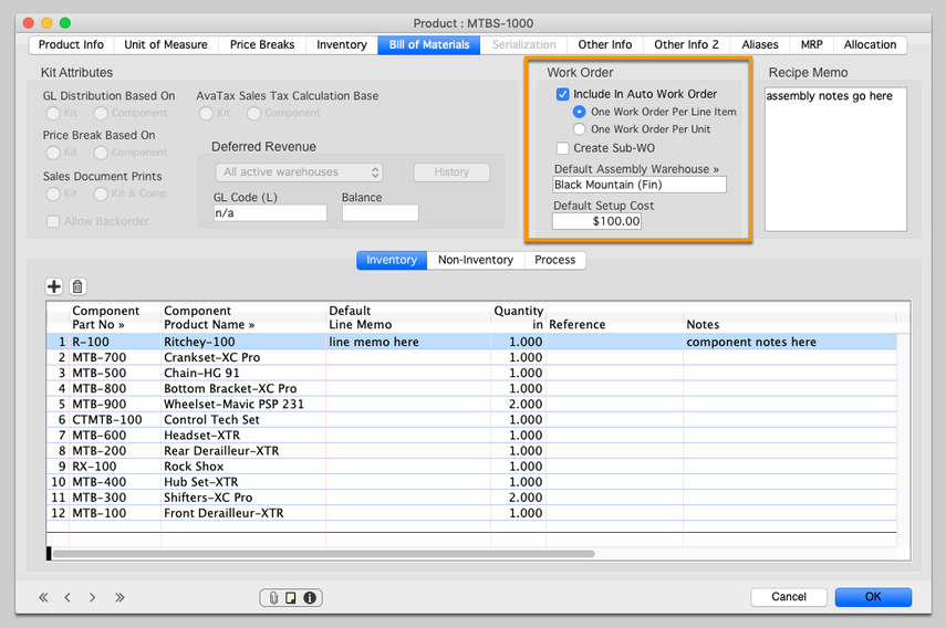 Enable the Assembly to be included in Auto-Work Order