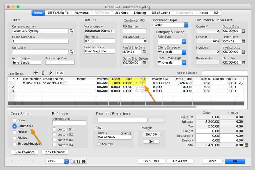 Create a Sales Order that includes the Assembly item