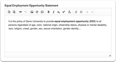 """Equal Employment Opportunity Statement, and click """"Save & Continue"""""""