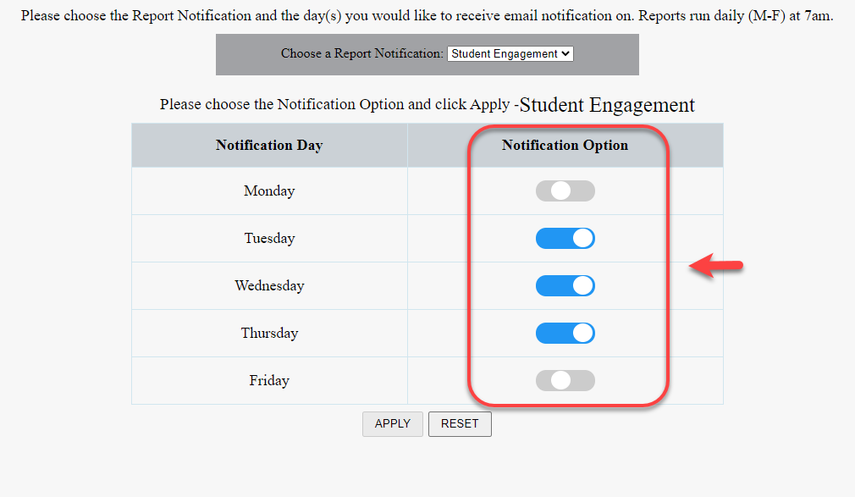 Arrow pointing to notification options