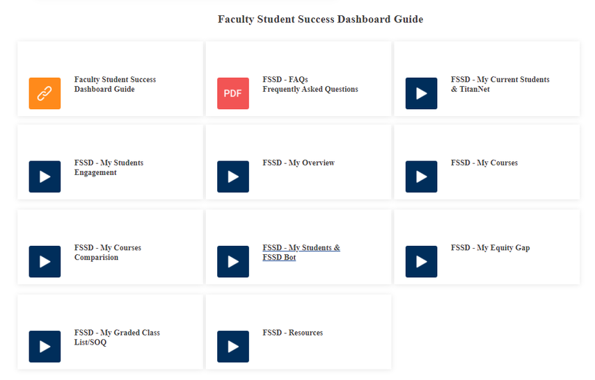 Faculty Student Success Dashboard Guide section
