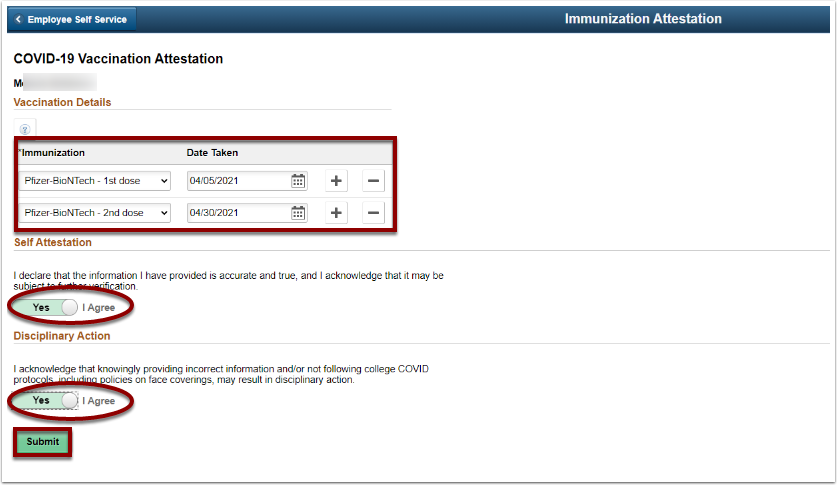 Vaccination Details page