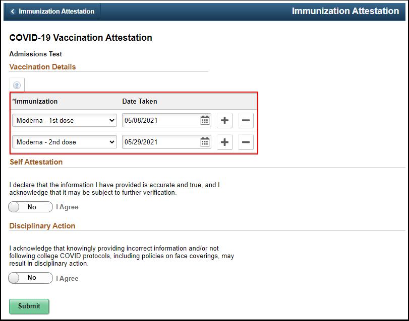Verify that the immunizatio information is correct