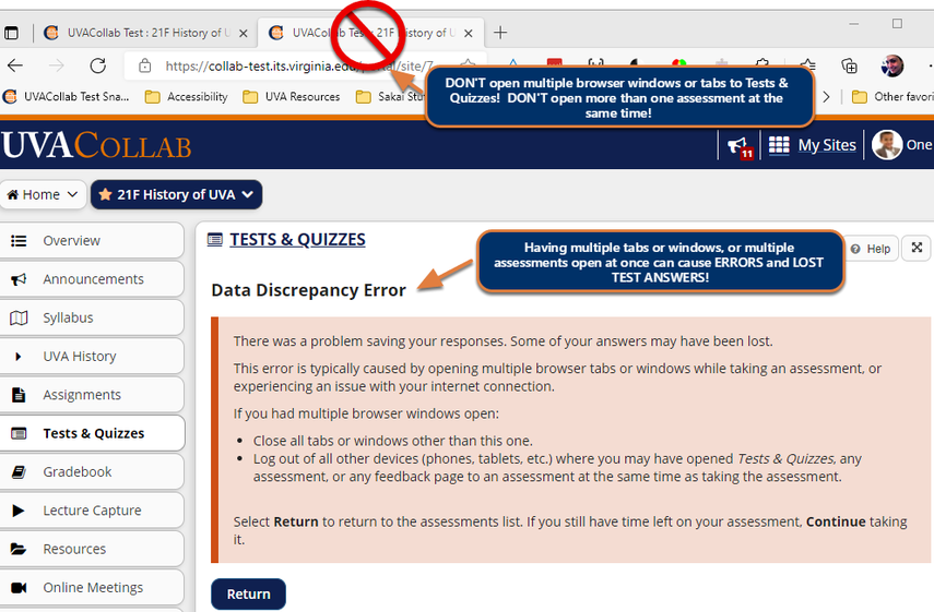 Screenshot of a Data Discrepancy Error commonly caused by opening multiple browser tabs. Graphic link opens modal with larger image. Press Escape to exit modal.