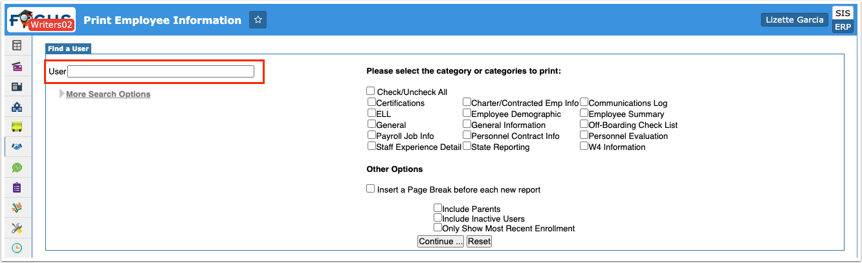 Print Employee Information