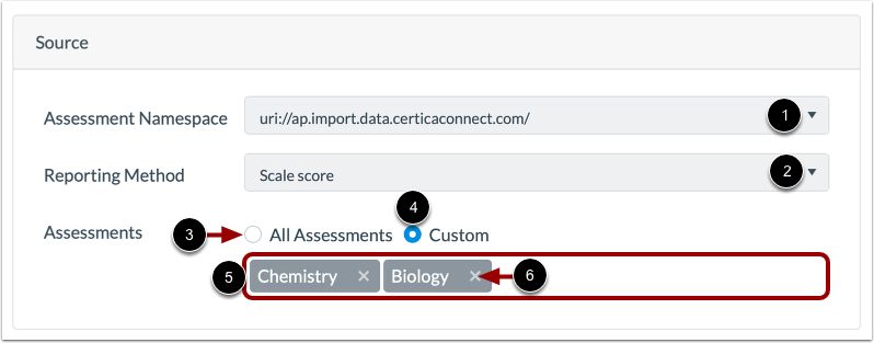 Select Assessment Score Source