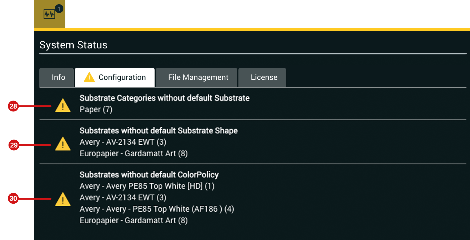 System Status Configuration Tab expanded
