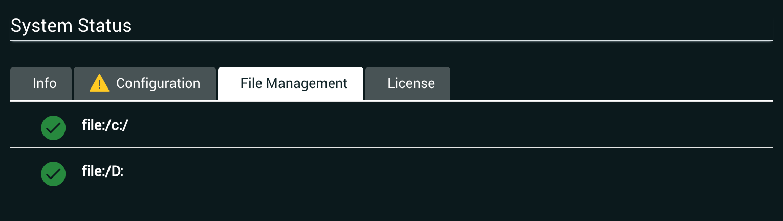 System Status File Management Tab