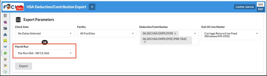 HSA Deduction/Contribution Export