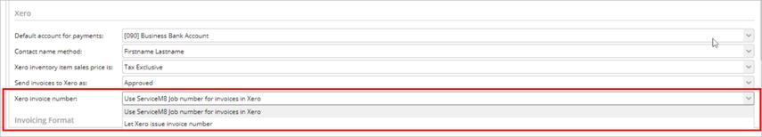 setting Xero invoice number