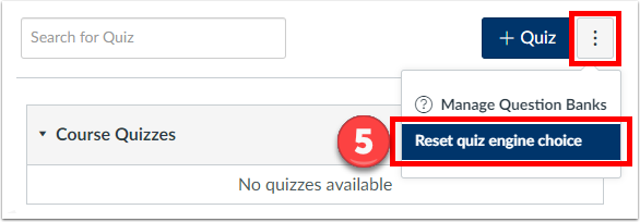 Reset quiz engine choice