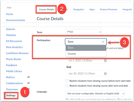 Click Settings, Course Details and then Term drop down arrow