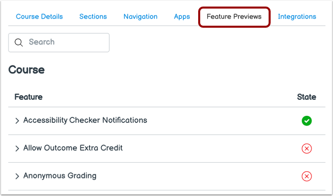 View Feature Options