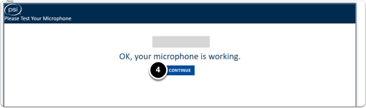 Micrphone tested, click on continue