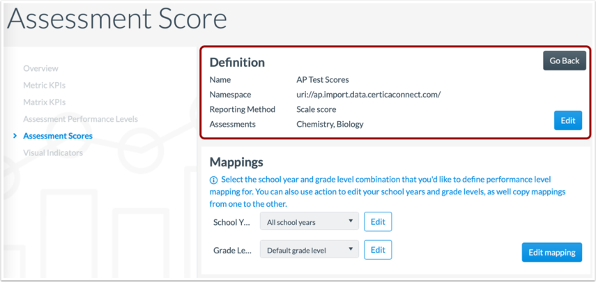 View Assessment Score Mapping