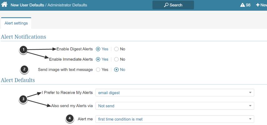 Alert Subscriptions Template > Administrator Defaults
