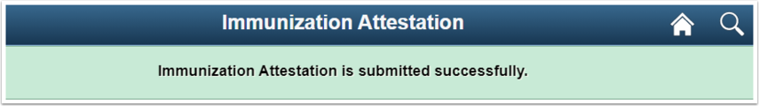 Message appears at the top of the screen, confirming a successful submission.