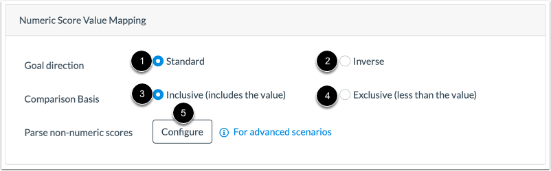 View Numeric Score Value Mapping Options