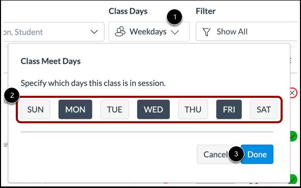 Select Class Days