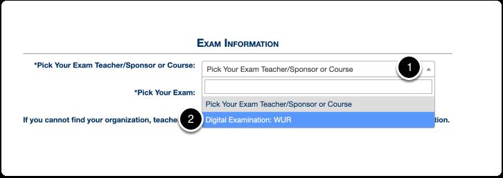 Exam information > pick exam teacher/sponsor or course