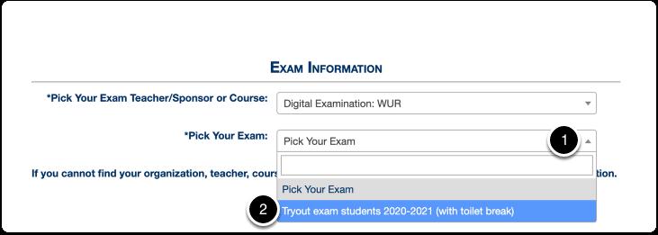 Exam information > pick exam > Tryout exam students 2020-2021 (with toilet break)