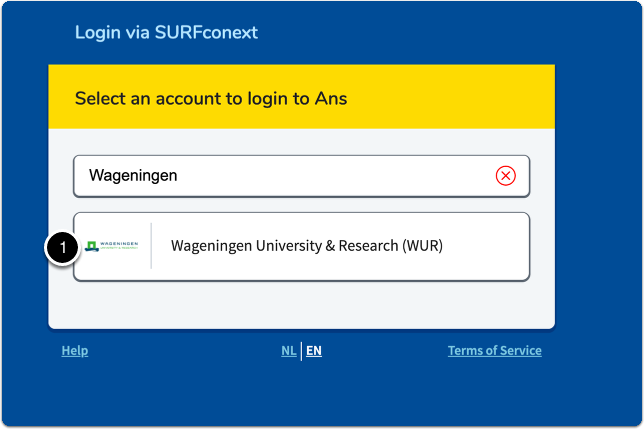 Select and account to login to Ans > Select Wageningen University & Research (WUR)