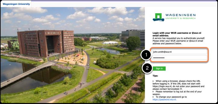 Login page of Wageningen University & Research