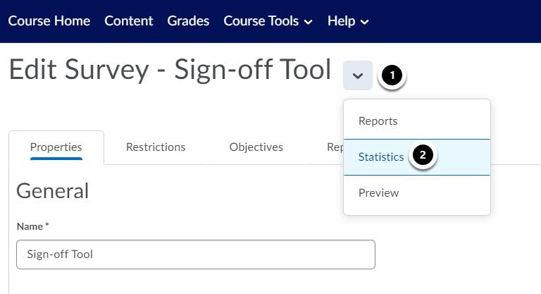 Edit Survey - Sign-off Tool - Brightspace Sample Course - Leiden University - Google Chrome