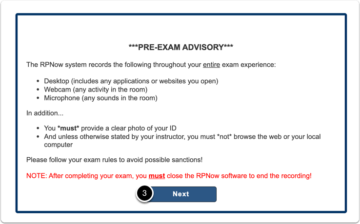 Pre-exam advisory message > once read > click on Next