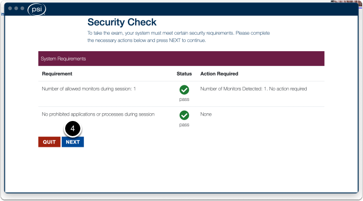 Security check pop-up if requirements are met > click on next