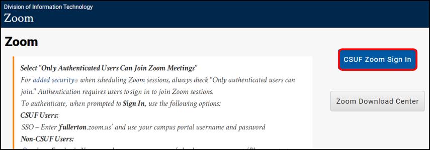 CSUF Zoom webpage