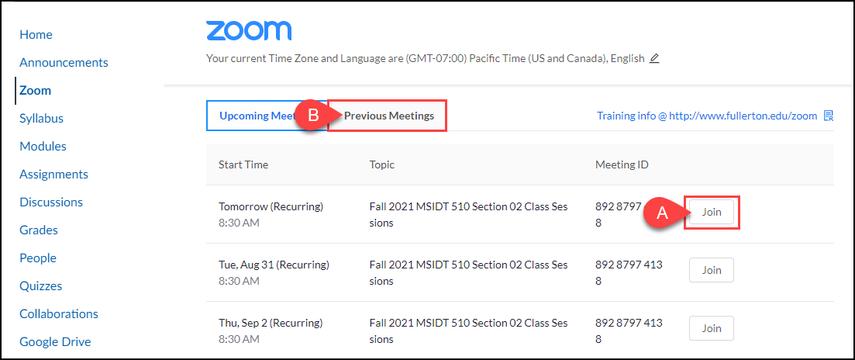 Zoom meetings in Canvas