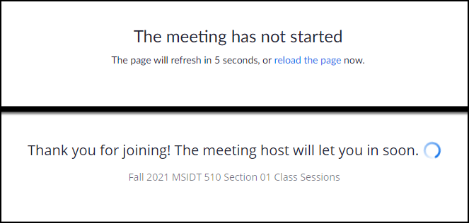 meeting not started and meeting host let you in messages
