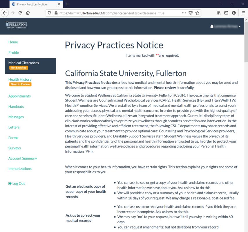 CSUF Health Portal COVID-19 Privacy Practice Notice..