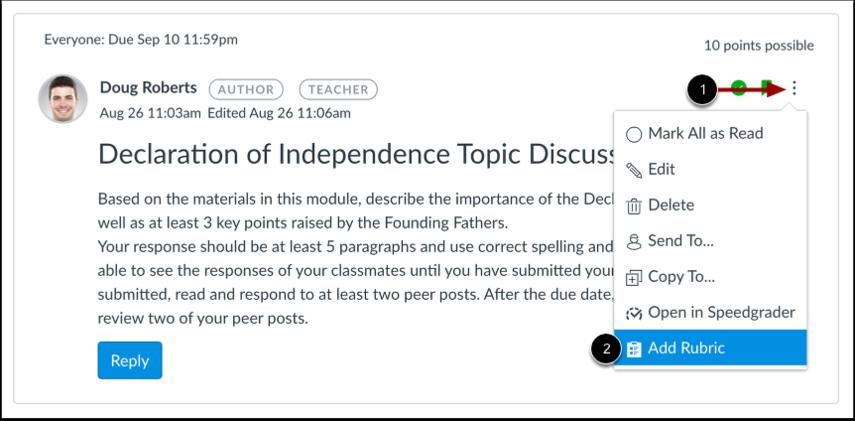 Add Rubric in Discussions Redesign