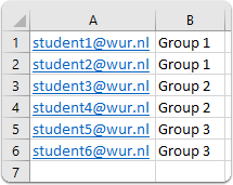 Excel with groups