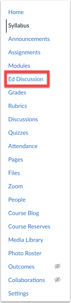 Canvas navigation menu with Ed Discussions highlighted.