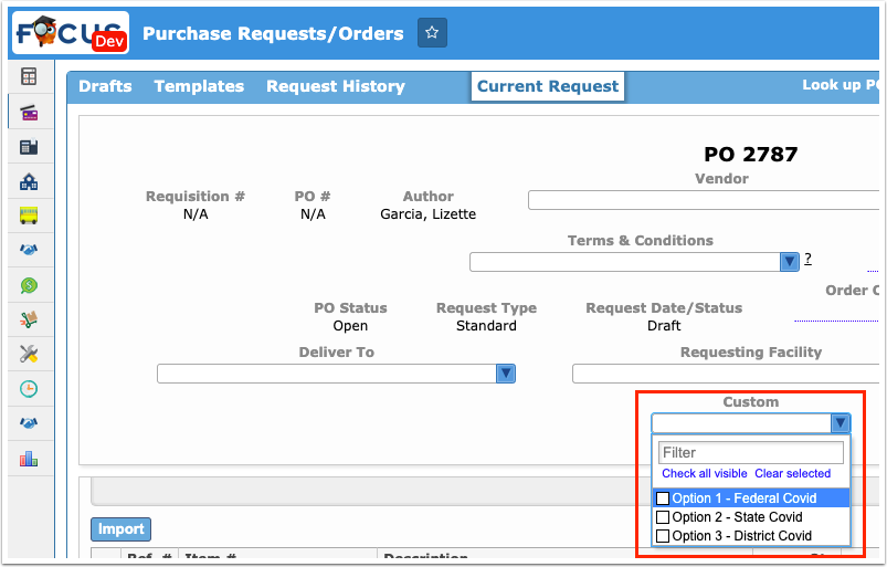 Purchase Requests/Orders