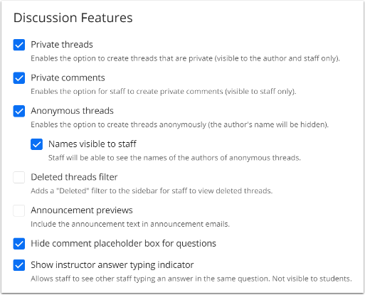 Discussion feature settings checked off in the default system settings.