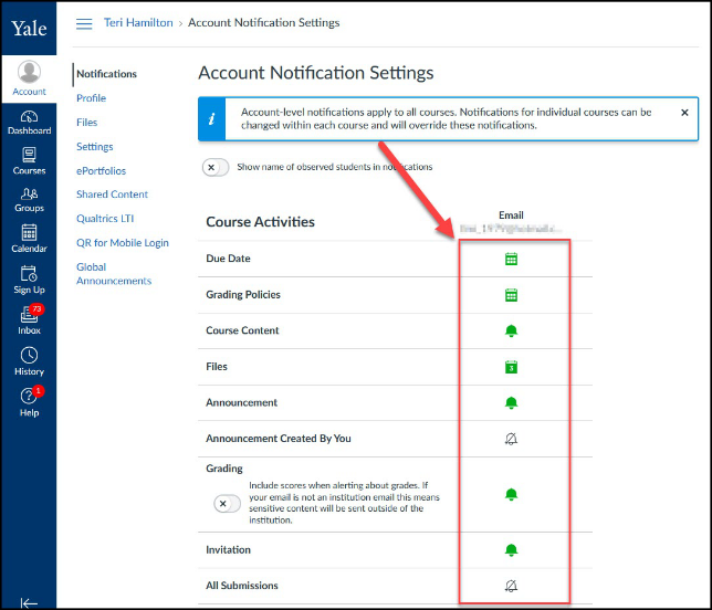 Account Notification Options